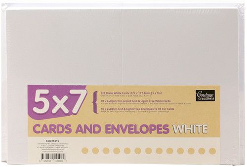 """Couture Creations 5""""X7"""" Cards W/Envelopes 50/Pkg-White -CO725815 - 9332839054062"""