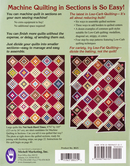 Marti Michell Books-Machine Quilting In Sections -MI-8025