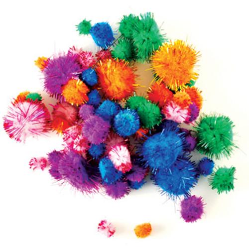Glitter Pom-Poms Variety Pack 75/Pkg-Assorted -KC216