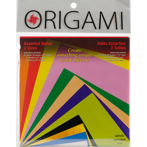 Fold 'Ems Solid Origami Paper 55/Pkg-Assorted Colors & Sizes -4103 - 031248506115
