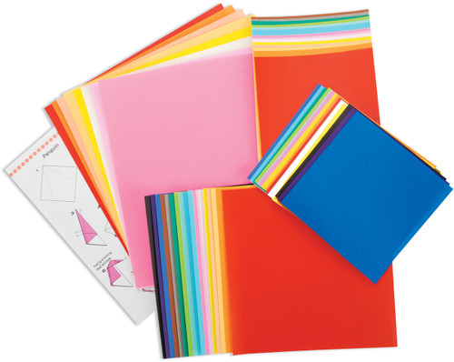 Fold 'Ems Solid Origami Paper 55/Pkg-Assorted Colors & Sizes -4103