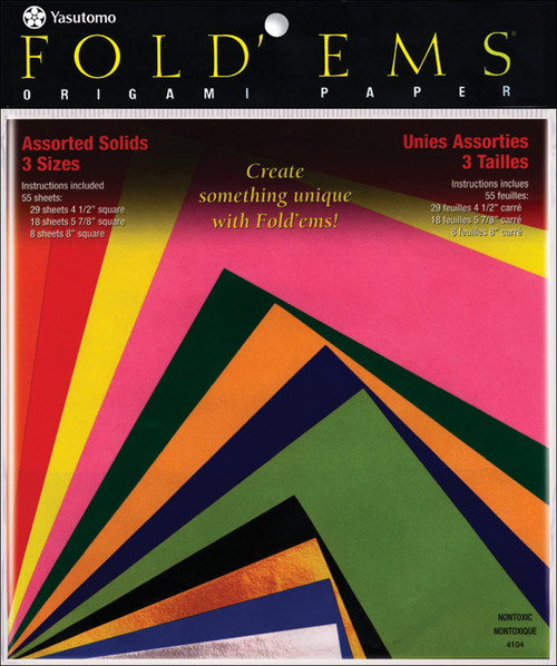 Fold 'Ems Solid Origami Paper 55/Pkg-Assorted Colors & Sizes -4104 - 031248506122