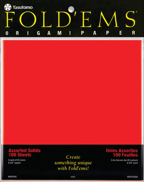 """Fold 'Ems Solid Origami Papers 6.75"""" 100/Pkg-20 Colors/5 Each -4252 - 031248506221"""