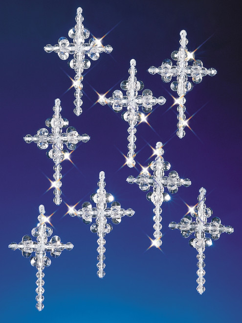 "Holiday Beaded Ornament Kit-Crystal Crosses 2"" Makes 24 -BOK-5536 - 045155888998"