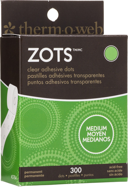 "Thermoweb Zots Clear Adhesive Dots-Medium 3/8""X1/64"" Thick 300/Pkg -37-84 - 000943037842"