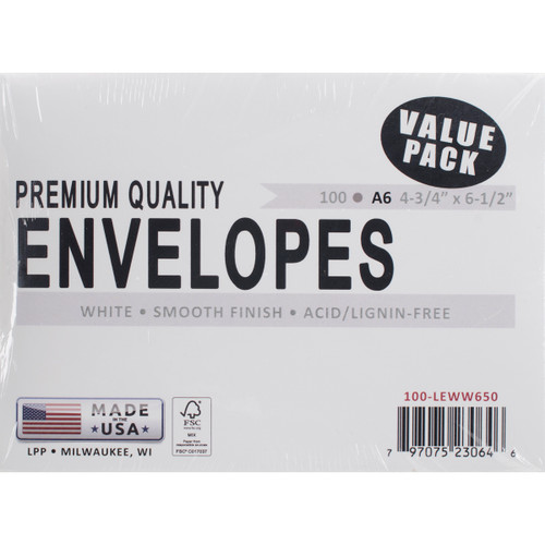 "Leader A6 Envelopes (4.75""X6.5"") 100/Pkg-White -A6100 - 797075230646"