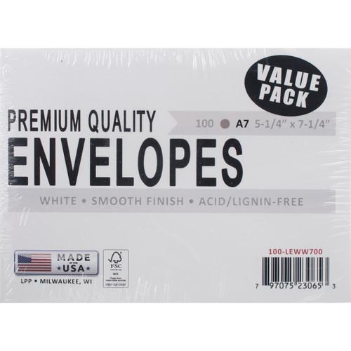 "Leader A7 Envelopes (5.25""X7.25"") 100/Pkg-White -A7100 - 797075230653"