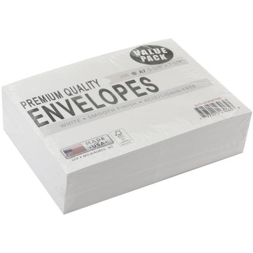 "Leader A7 Envelopes (5.25""X7.25"") 100/Pkg-White -A7100"