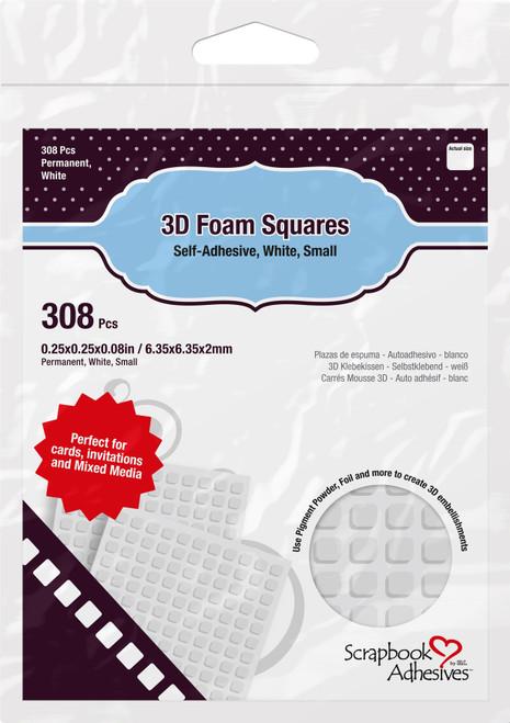 "Scrapbook Adhesives 3D Self-Adhesive Foam Squares 308/Pkg-White, .25""X.25"" -01612 - 093616016121"