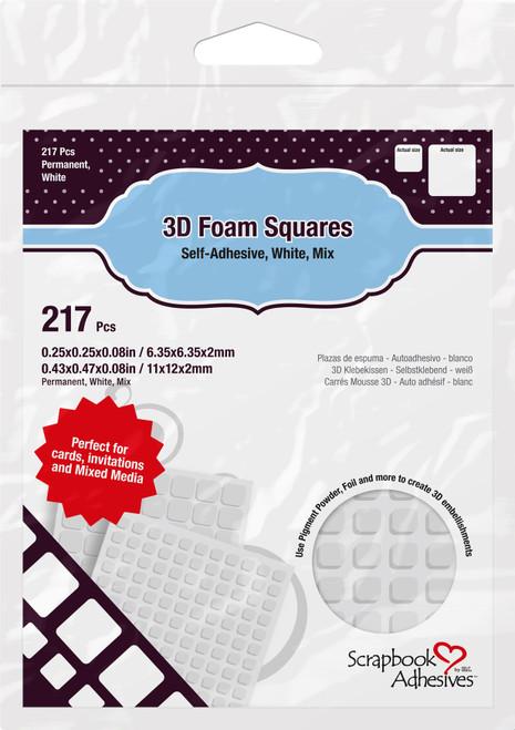 "Scrapbook Adhesives 3D Foam Squares Variety Pack 217/Pkg-White (63) .5""X.5"", (154) .25""X.25"" -01614 - 093616016145"