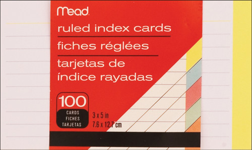 """Mead Index Card 3""""X5"""" 100/Pkg-Ruled Assorted Colors -63074 - 043100630746"""