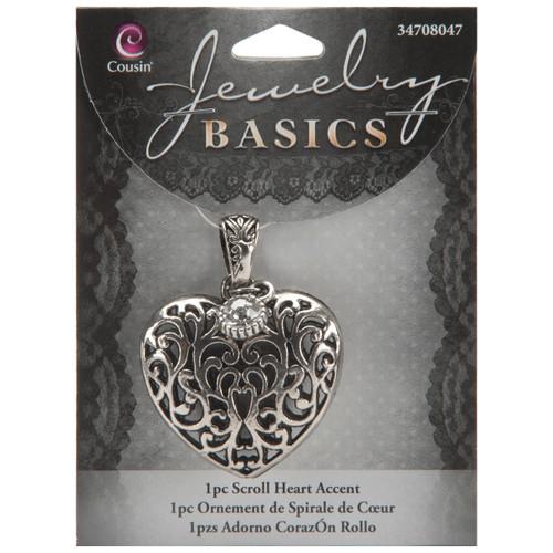 Jewelry Basics Metal Accent 1/Pkg-Heart Scroll -JBMA1-8047 - 016321042902