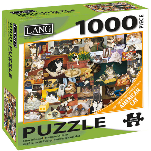 """Jigsaw Puzzle 1000 Pieces 29""""X20""""-American Cat -50380-25"""
