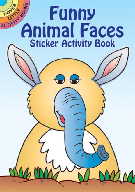 Dover Publications-Funny Animal Faces Stckr Actv Bk -DOV-44114 - 8007594411439780486441146