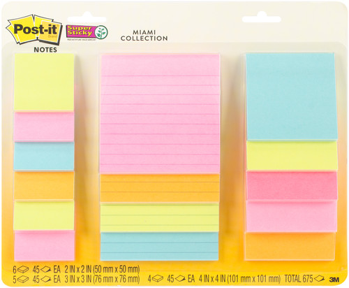 """Post-It Super Sticky Notes Assorted Sizes 15/Pkg-Miami 2""""X2"""", 3""""X3"""", 4""""X4"""" -4423-15S - 076308907419"""