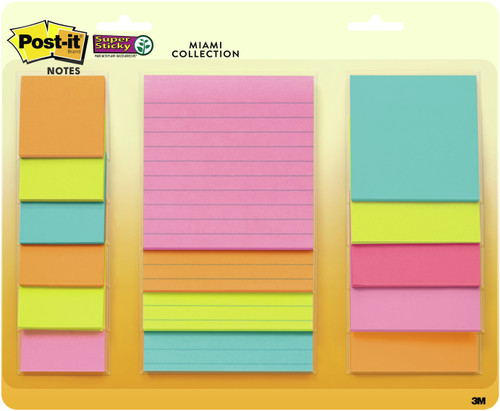 """Post-It Super Sticky Notes Assorted Sizes 15/Pkg-Miami 2""""X2"""", 3""""X3"""", 4""""X4"""" -4423-15S"""