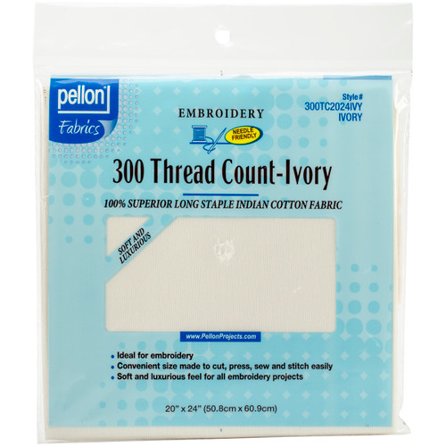 """Pellon 300 Thread Count Cotton Fabric For Embroidery-Ivory 20""""X24"""" -2024IVY - 075269020274"""