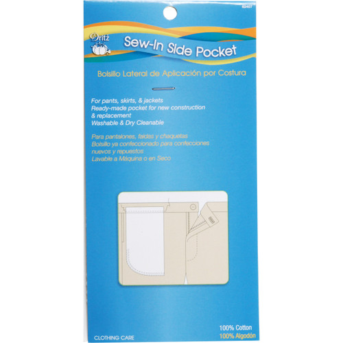 """Dritz Clothing Care Sew-In Side Pocket 13""""X6-3/8 1/Pkg -82407 - 072879824070"""