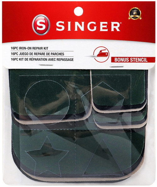 Singer Iron-On Patches Repair Kit 16/Pkg-Assorted Colors -99 - 075691000998