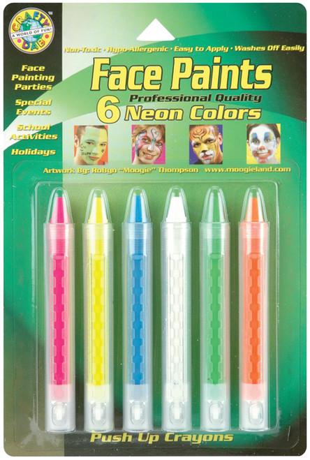 Face Paint Push-Up Crayons 6/Pkg-Neon -FPSTICK-80040 - 014137800402