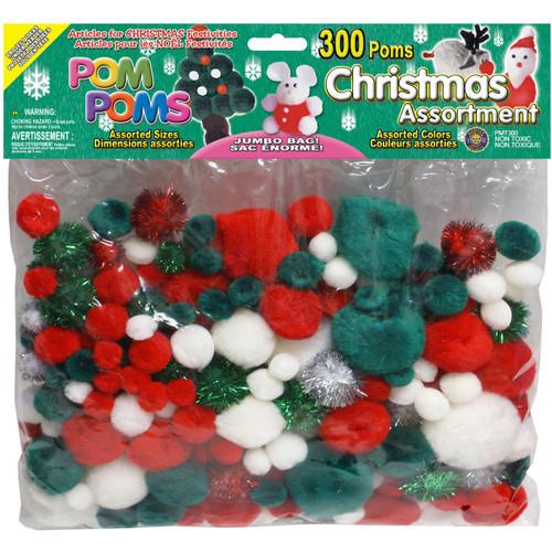 Pom-Poms Assorted 300/Pkg-Christmas -POM-PMT - 725879825218