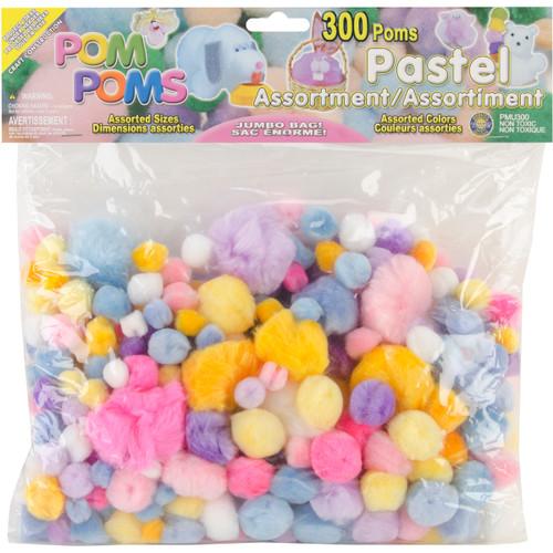 Pom-Poms Assorted 300/Pkg-Pastel -POM-PMU - 725879827212