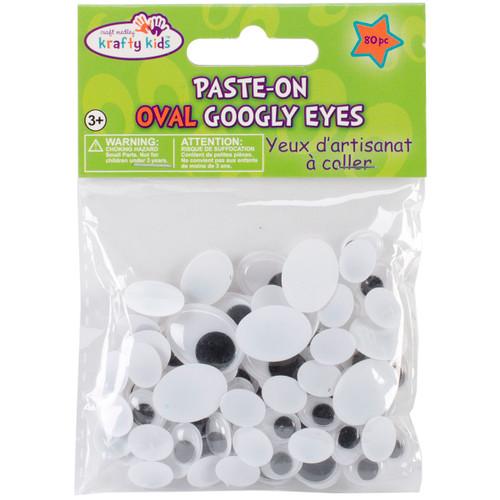 Paste-On Googly Eyes Assorted 10mm To 19mm 80/Pkg-Black -EM402 - 775749150513