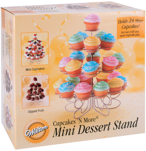 """Cupcakes 'N More Mini Dessert Stand-Silver 10.5""""X9"""" Holds 24 Mini Cupcakes -W307250 - 070896372505"""