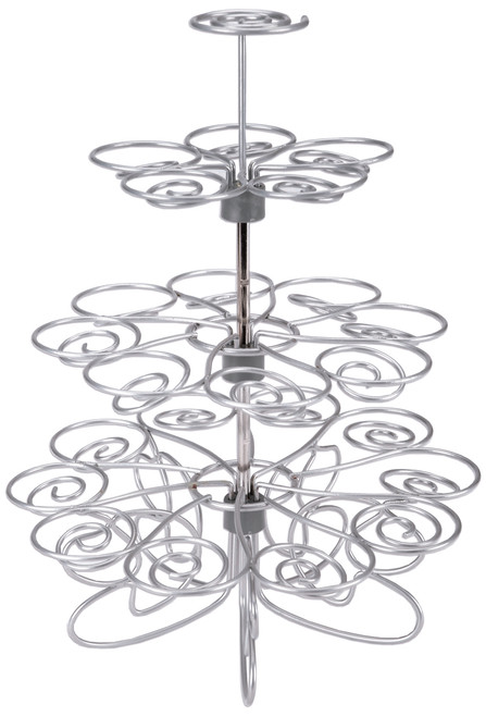 """Cupcakes 'N More Mini Dessert Stand-Silver 10.5""""X9"""" Holds 24 Mini Cupcakes -W307250"""