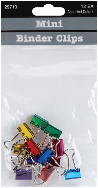 "Mini Binder Clips .5"" 12/Pkg-Assorted Colors -29710 - 085288297106"