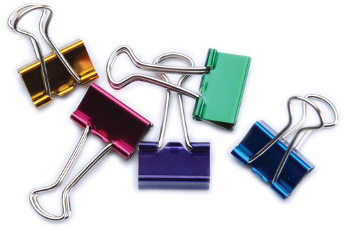 """Small Binder Clips .75"""" 8/Pkg-Assorted Colors -29720"""