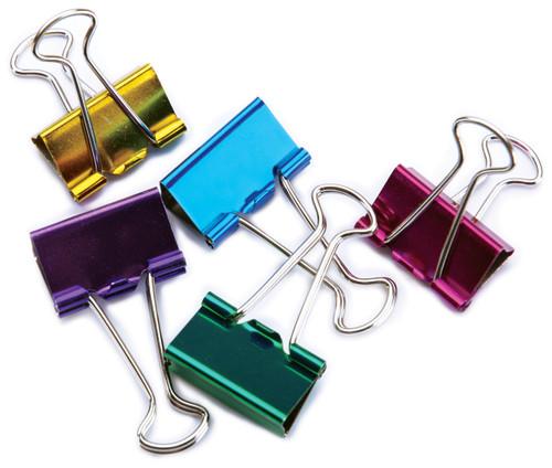 "Medium Binder Clips 1"" 5/Pkg-Assorted Colors -29730"