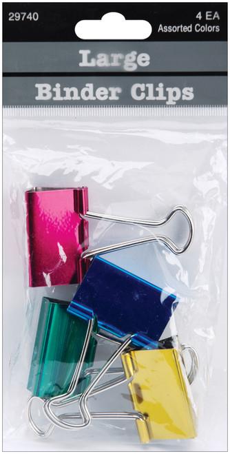 """Large Binder Clips 1.25"""" 4/Pkg-Assorted Colors -29740 - 085288297403"""