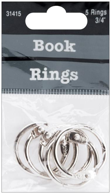 "Book Rings .75"" 5/Pkg-Silver -31415 - 085288314155"