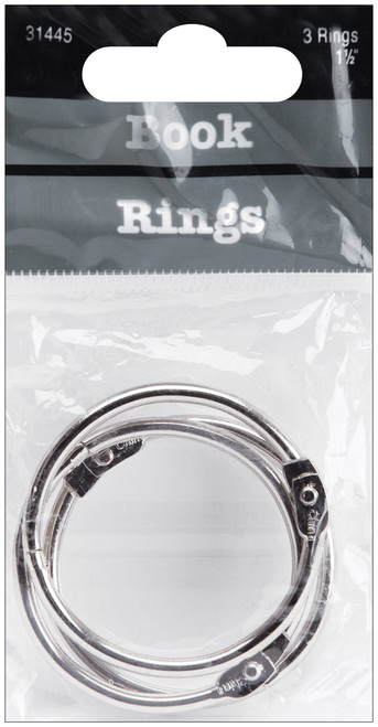 "Book Rings 1.5"" 3/Pkg-Silver -31445 - 085288314452"