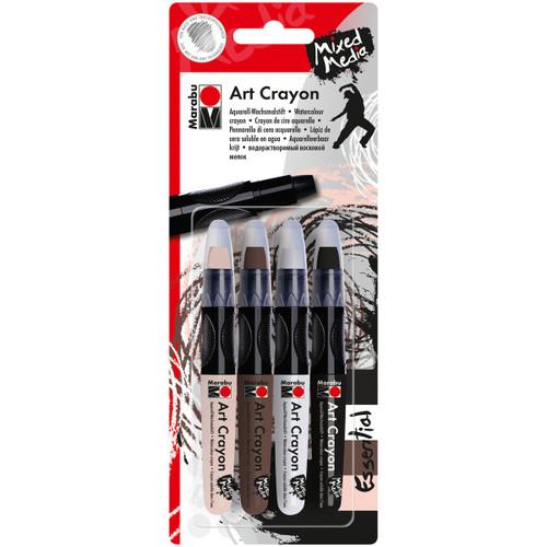 Marabu Creative Art Crayon Set 4/Pkg-Essentials Flesh, Cocoa, White & Black -1409000-203 - 4007751627261