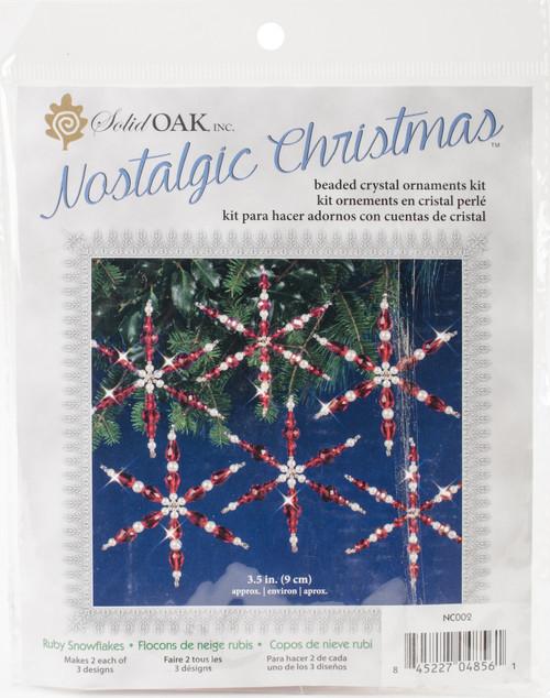 Nostalgic Christmas Beaded Crystal Ornament Kit-Ruby Snowflakes -NCHBOK-002 - 845227048561