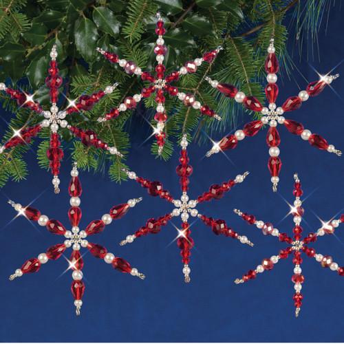 Nostalgic Christmas Beaded Crystal Ornament Kit-Ruby Snowflakes -NCHBOK-002
