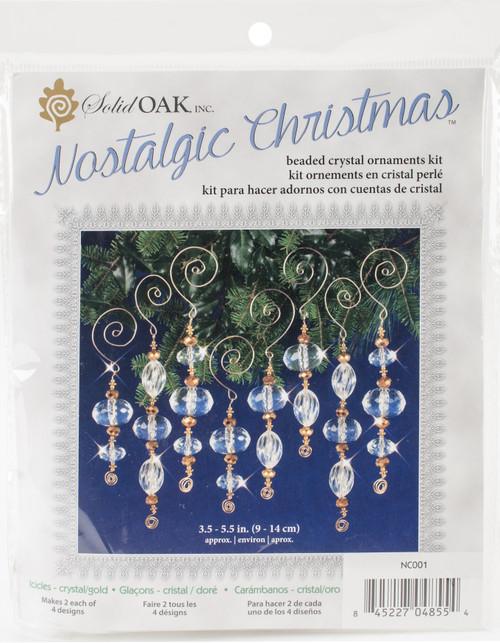 Nostalgic Christmas Beaded Crystal Ornament Kit-Gold & Crystal Icicles -NCHBOK-001 - 845227048554