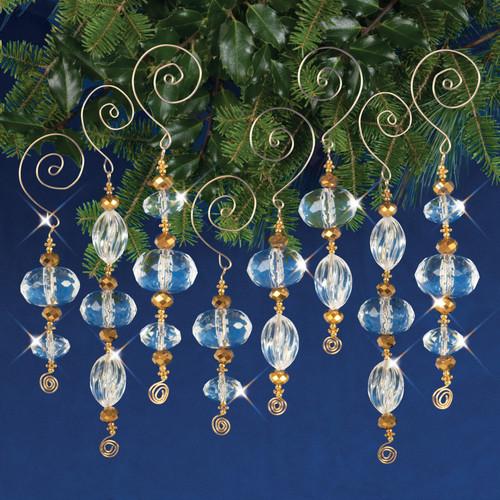 Nostalgic Christmas Beaded Crystal Ornament Kit-Gold & Crystal Icicles -NCHBOK-001