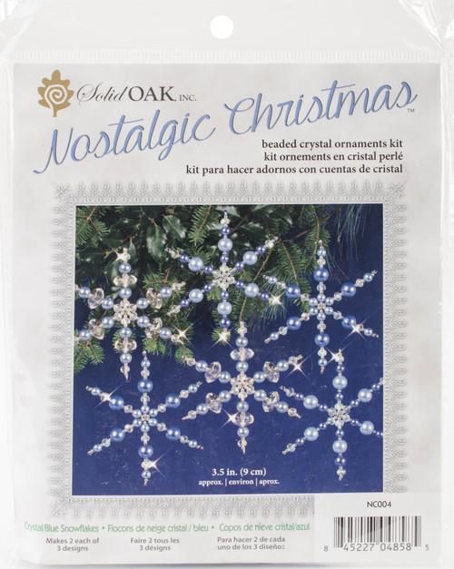 Nostalgic Christmas Beaded Crystal Ornament Kit-Blue Snowflakes Makes 6 -NCHBOK-004 - 845227048585