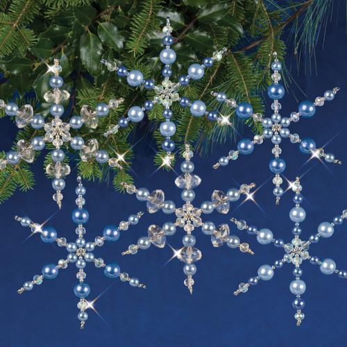 Nostalgic Christmas Beaded Crystal Ornament Kit-Blue Snowflakes Makes 6 -NCHBOK-004