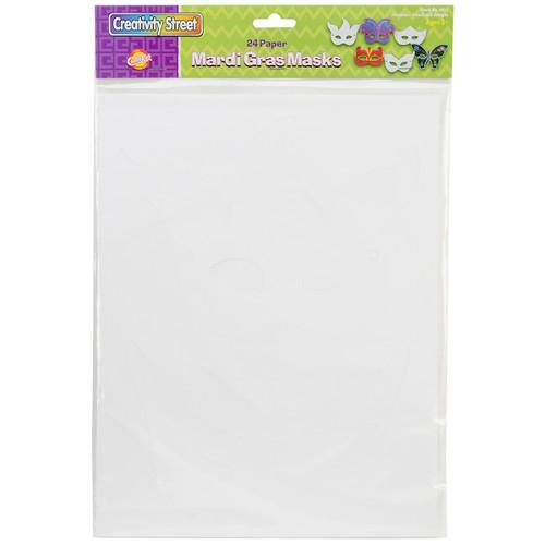 Paper Mardi Gras Masks 24/Pkg-Assorted Shapes -4651 - 021196046511