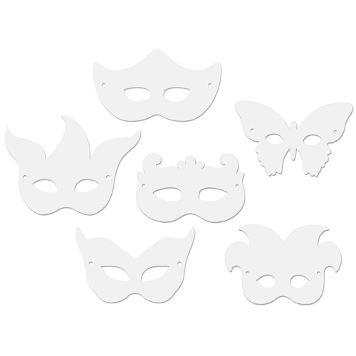 Paper Mardi Gras Masks 24/Pkg-Assorted Shapes -4651