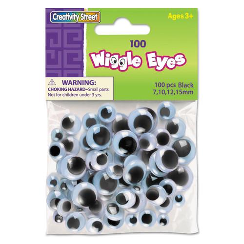 Paste-On Wiggle Eyes Assorted 7mm To 15mm 100/Pkg-Black -3446-02 - 021196344624