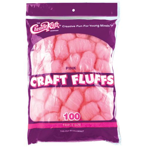 Craft Fluffs 4oz 100/Pkg-Pink -FLUFF4OZ-6402 - 021196064027
