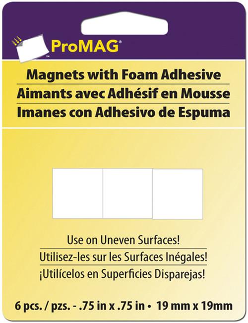 "ProMag Square Magnets W/Foam Adhesive-.75"" 6/Pkg -12331 - 015377123313"