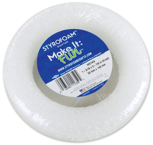 """Styrofoam Wreath-6""""X1.25"""" -W61WS - 046501113504"""
