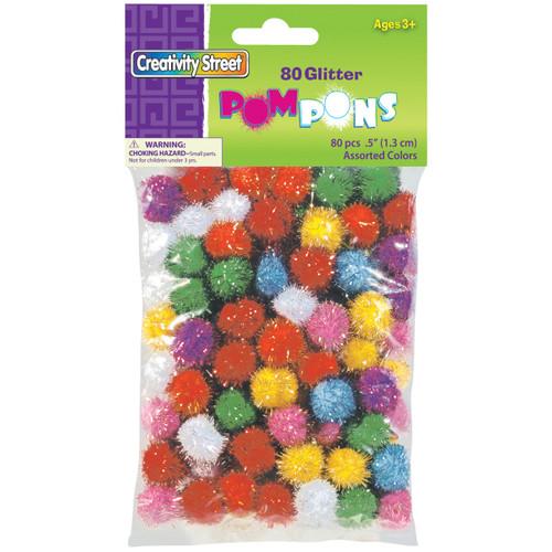 Glitter Pom-Pons Variety Pack 80/Pkg-Assorted -8116-01 - 021196081161