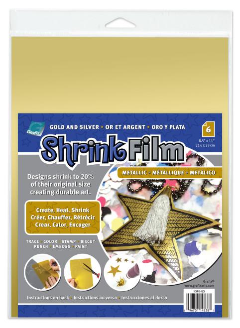 "Grafix Shrink Film 8.5""X11"" 6/Pkg-Gold & Silver 3 Each -KSF6-GS - 096701148387"